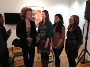 "Members of ""Politics and Poetics of Black Feminist Thought"" class not at all intimidated to meet Angela Davis"