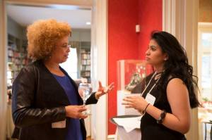 "Davis chats with ""Black Feminist Thought"" student Brenda Martinez. Photo credit: Christa Neu"